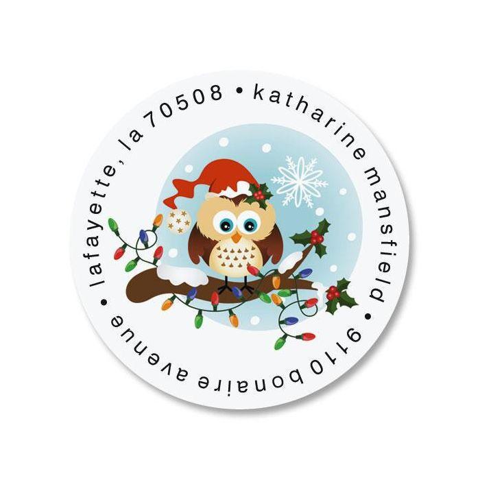 Santa Owl Round Return Address Labels