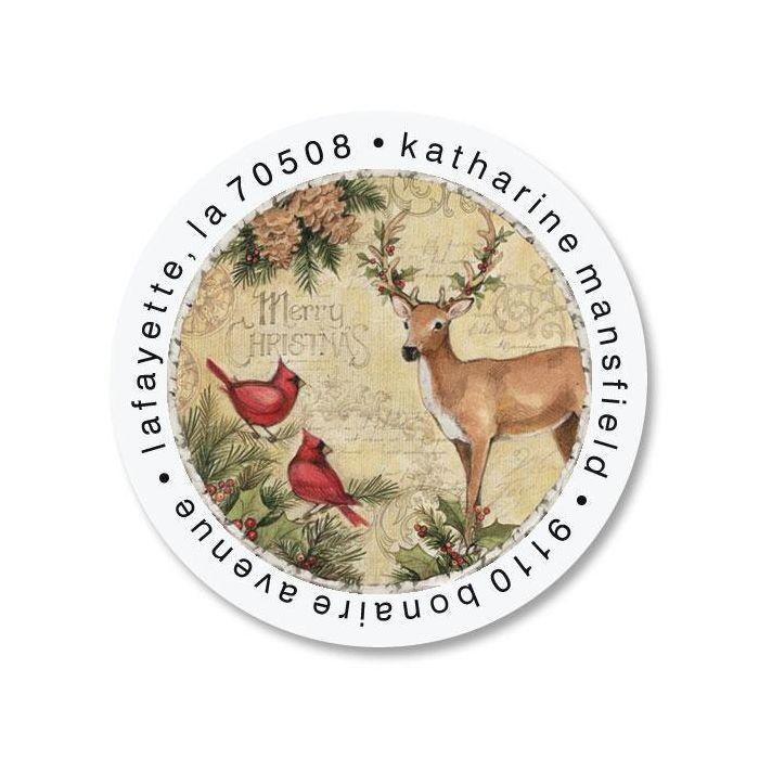Woodland Deer Round Return Address Labels