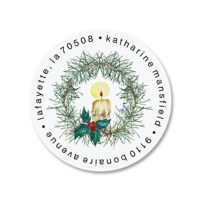 Candle Wreath Round Return Address Labels