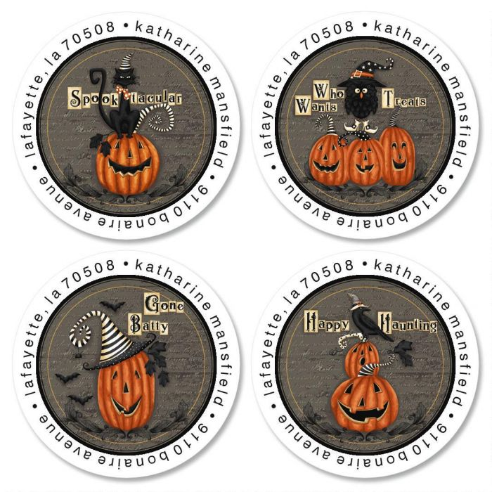 Happy Haunting Round Return Address Labels  (4 Designs)