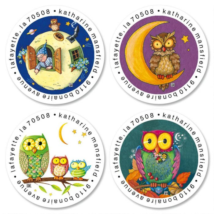 Mary's Owl and Moon Round Return Address Labels  (4 Designs)
