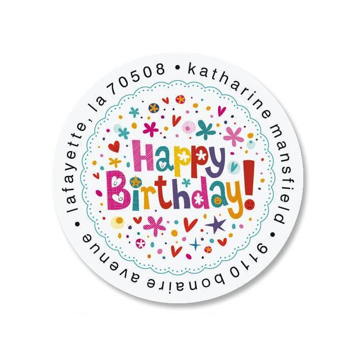 Peppy Birthday Round Return Address Labels