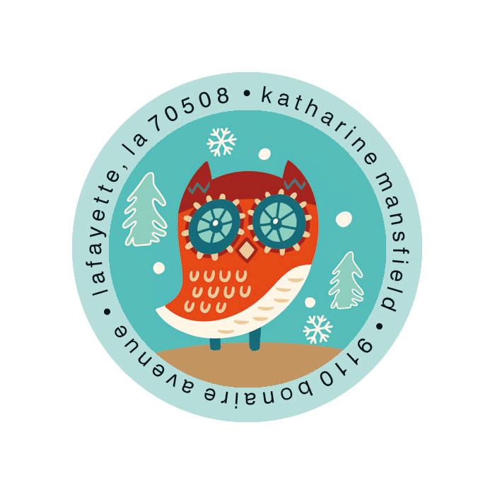 Winter Friends Round Return Address Labels (6 Designs)