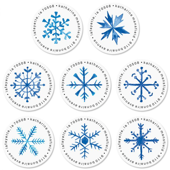 Blue Snowflakes Round Return Address Labels (8 Designs)