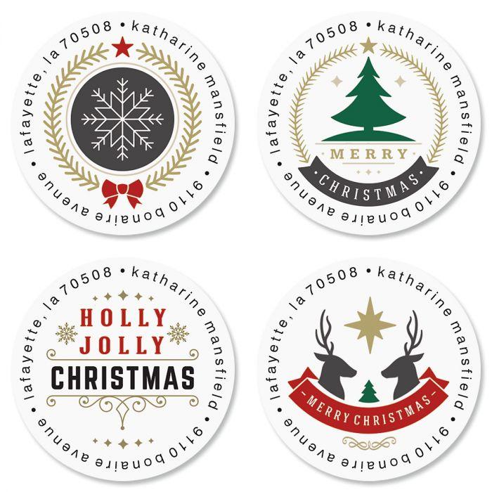 Christmas Token Round Return Address Labels (4 Designs)