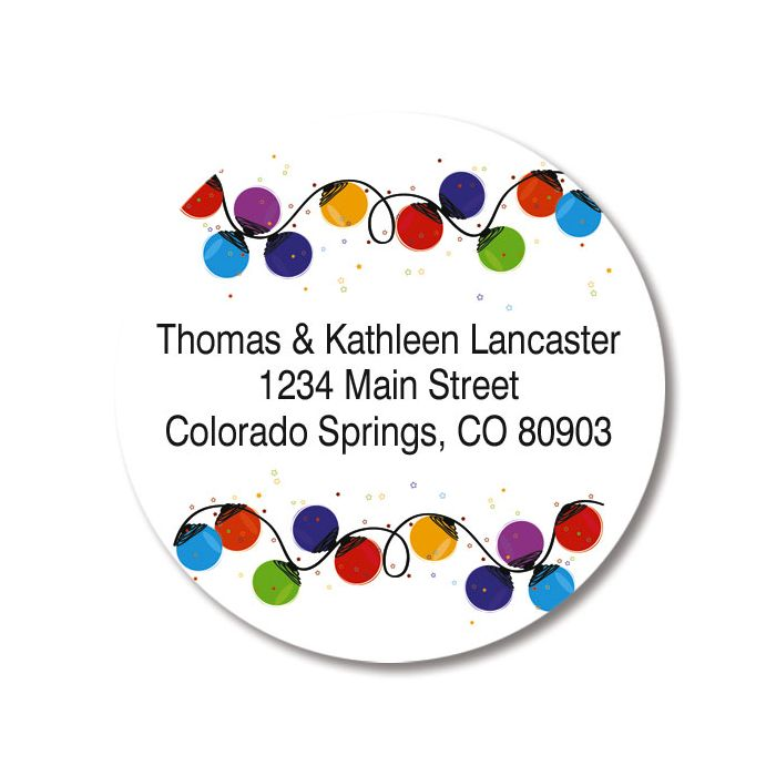 merry bright round christmas address labels colorful images