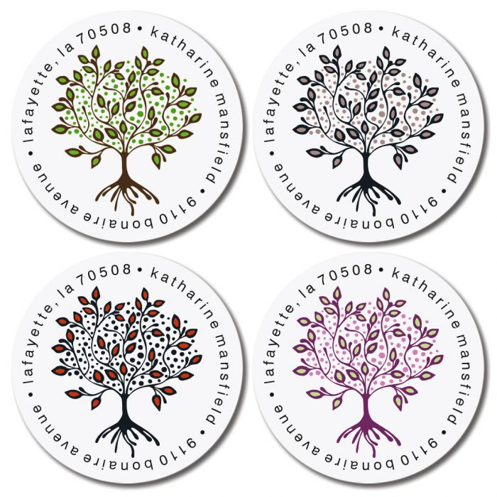 Tree of Life Round Return Address Labels (4 Designs)