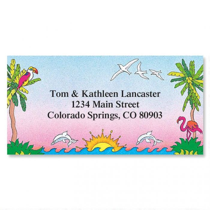 Sun 'n Surf Border Return Address Labels