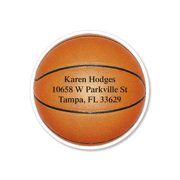 Basketball Diecut Return Address Labels