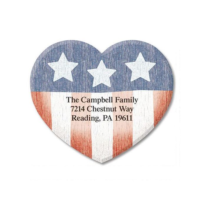Americana Heart Diecut Return Address Labels