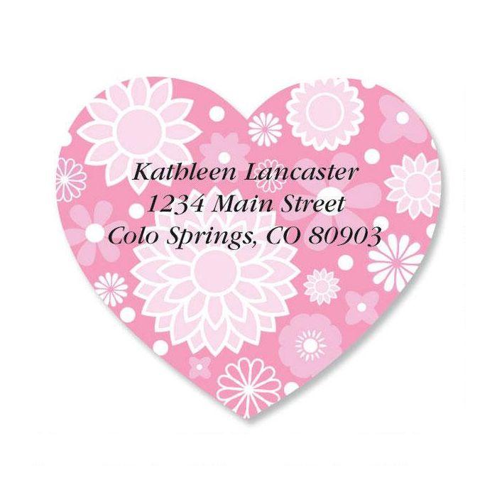 Flower Heart Diecut Return Address Labels