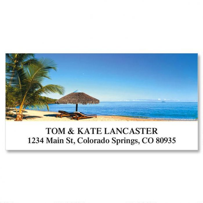 Tropical Beach Deluxe Return Address Labels
