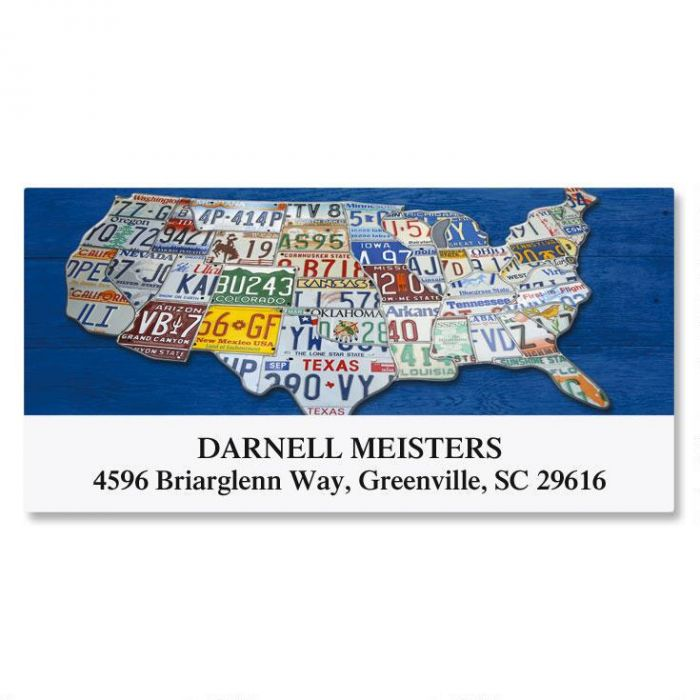 US Map Deluxe Return Address Labels