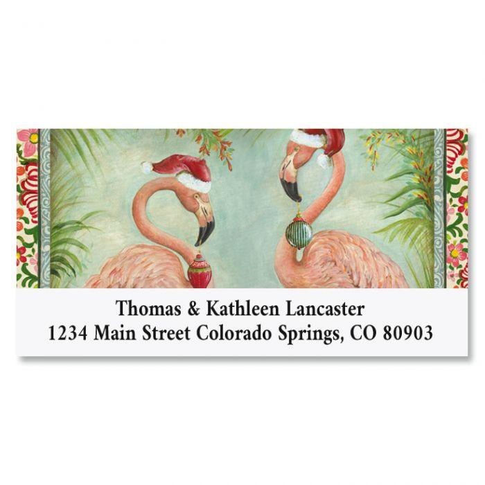 Flamingo Deluxe Christmas Address Labels