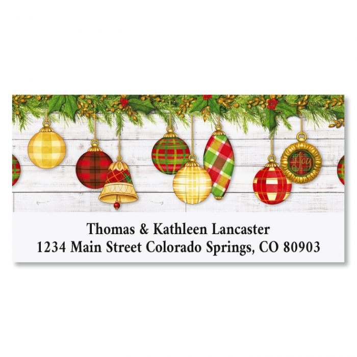 Plaid Ornaments Deluxe Christmas Address Labels