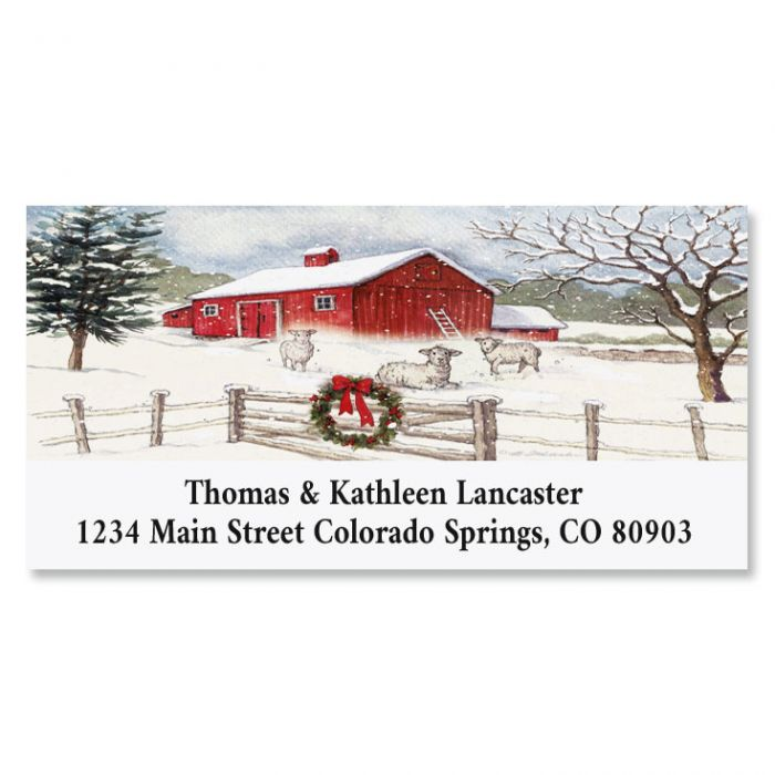Country Barn Deluxe Christmas Address Labels