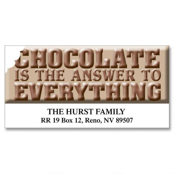 Chocolate  is the Answer... Deluxe Return Address Labels