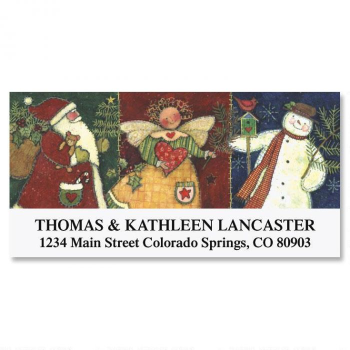 Quilted Christmas Deluxe Address Labels