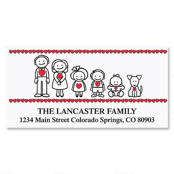 Our Family with Heart Deluxe Return Address Labels