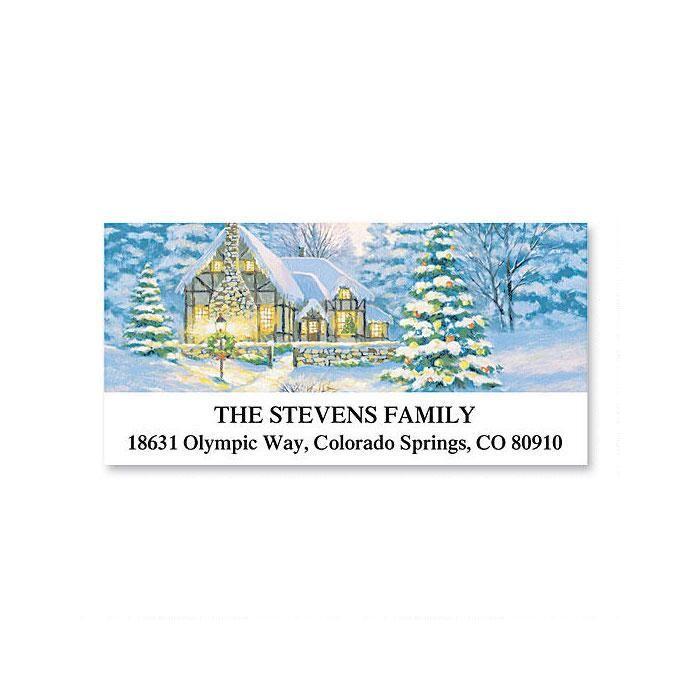 Christmas Cottage Deluxe Return Address Labels