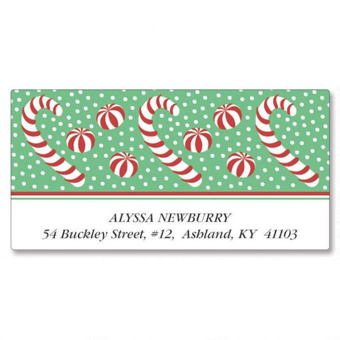 Candy Canes Deluxe Return Address Labels