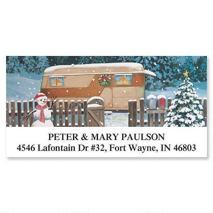 Christmas Trailer Deluxe Return Address Labels