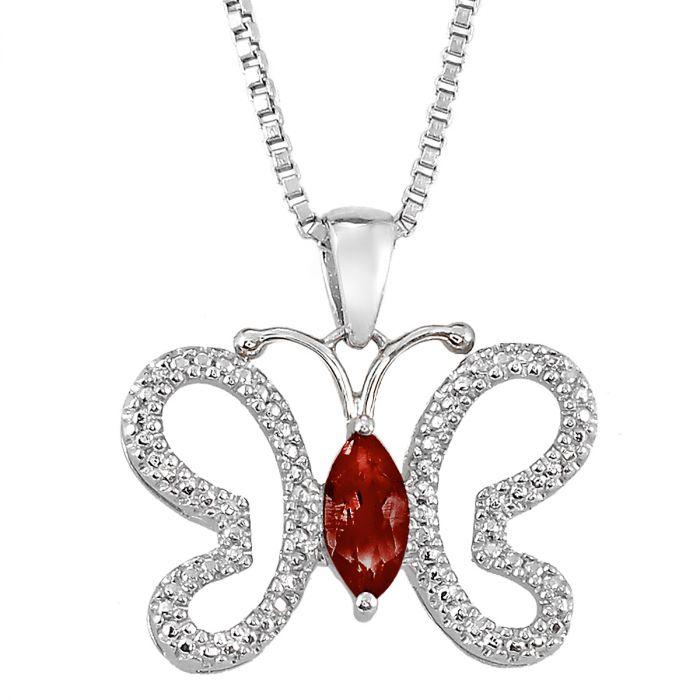 Diamond & Marquise Birthstone Butterfly Pendant