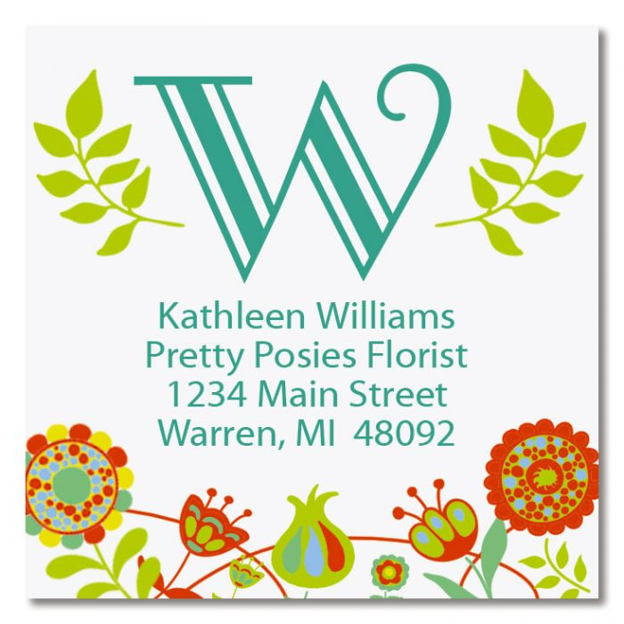 Cheery Florals Square Labels
