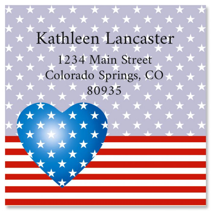 Patriotic Heart Large Square Return Address Label