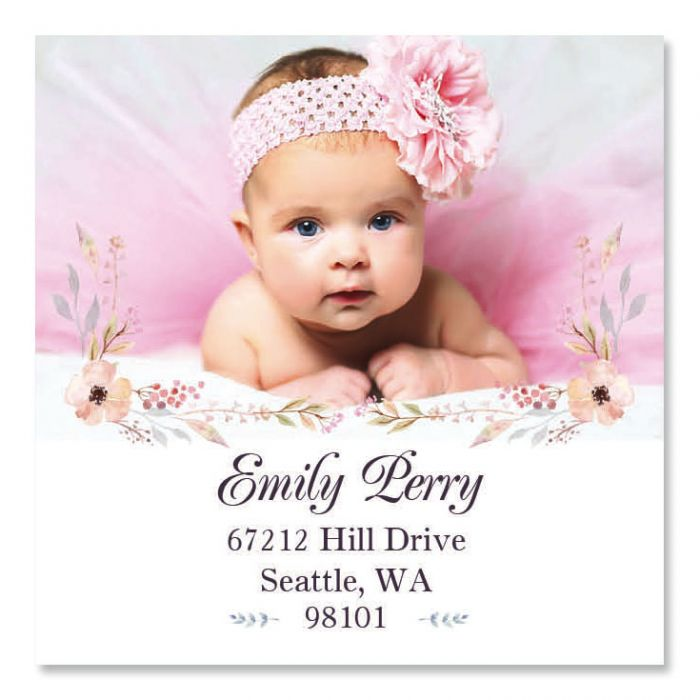 Floral Large Square Photo Return Address Label
