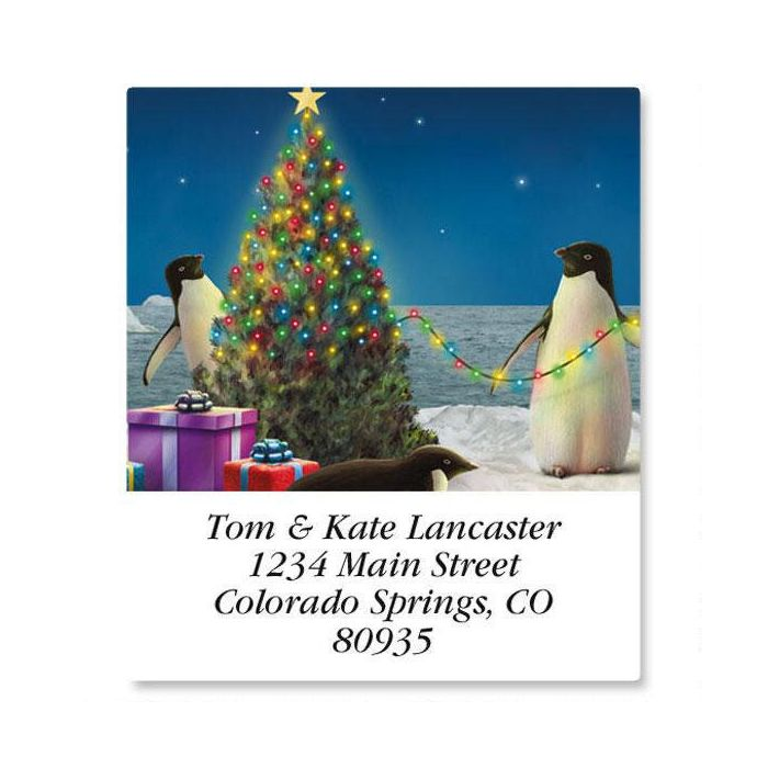 Festive Penguins Select Return Address Labels