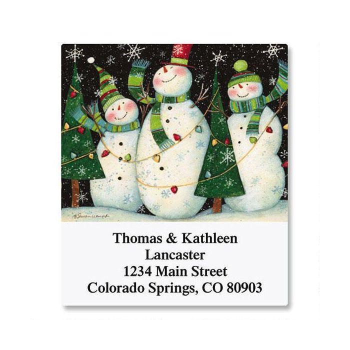 3 Snowmen Select Return Address Labels