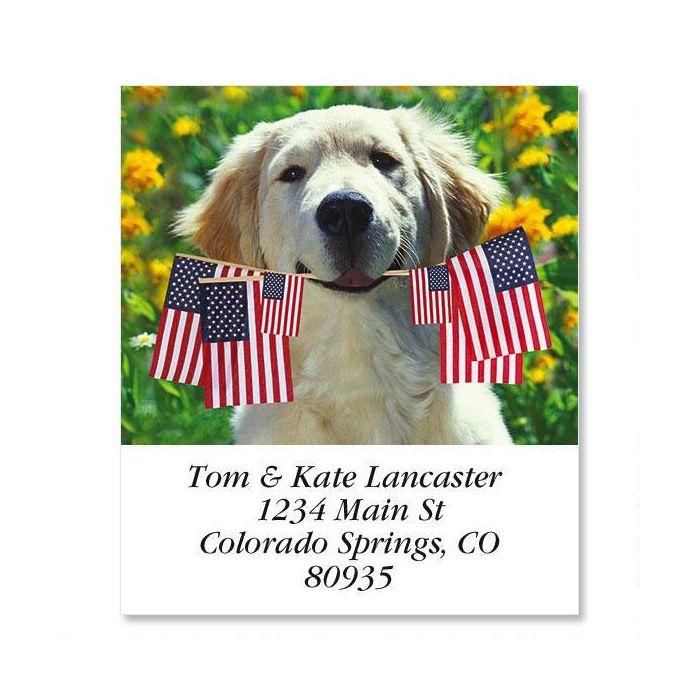 Patriotic Pup Select Return Address Labels