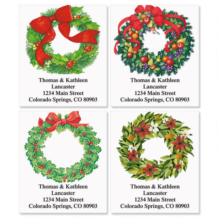 Christmas Wreath Select Return Address Labels  (4 Designs)