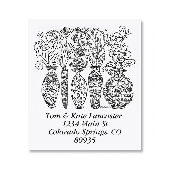 Black & White Decorative Vases Select Return Address Labels
