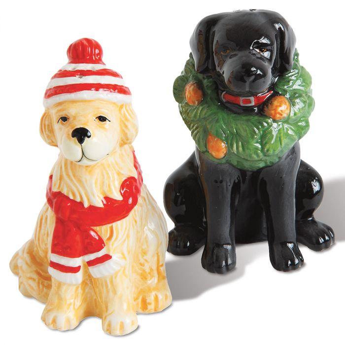 Winter Dogs Salt & Pepper Shaker Set