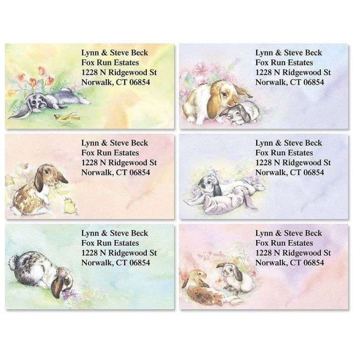 Bunnies  Border Return Address Labels