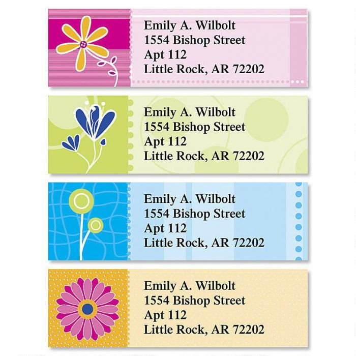 Color Floral Classic Return Address Labels  (4 Designs)