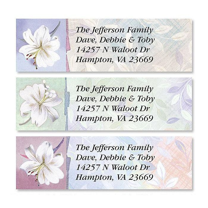 White Lilies Classic Return Address Labels  (3 Designs)