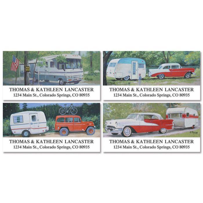 Travel Trailer Deluxe Return Address Labels  (4 Designs)