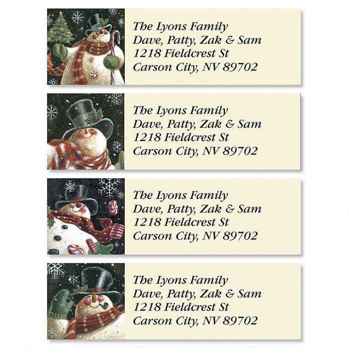 Joyous Snowman Classic Return Address Labels (4 Designs)