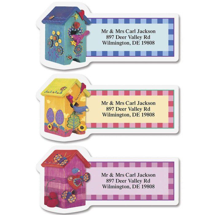 Colorful Birdhouses Diecut Return Address Labels  (3 Designs)