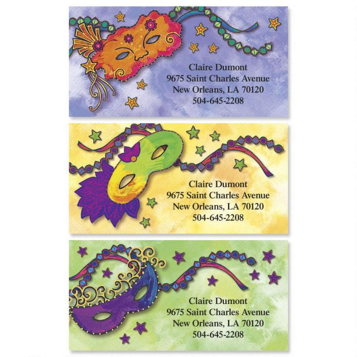 Mardi Gras Border Return Address Labels  (3 Designs)