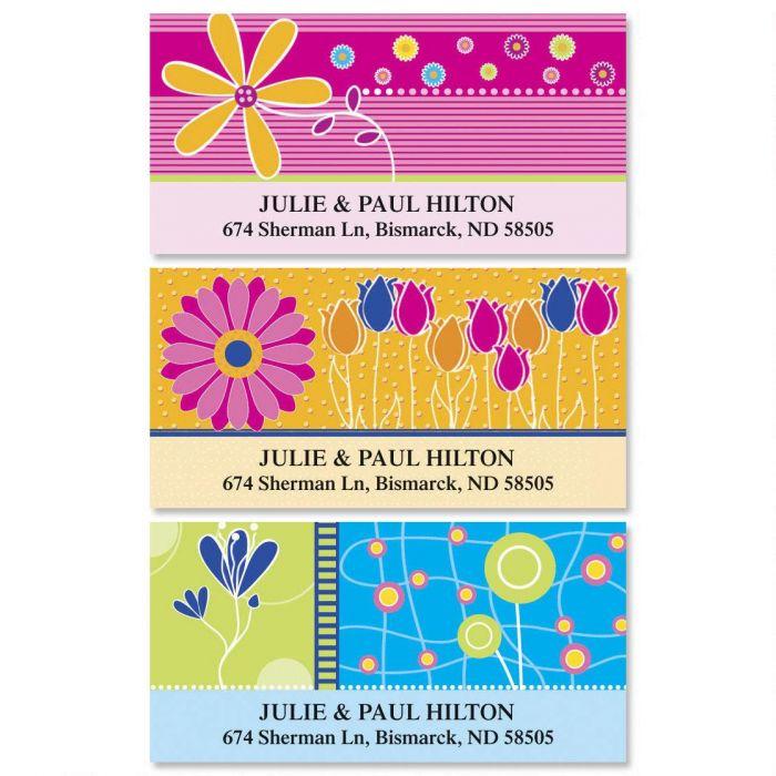 Color Floral Deluxe Return Address Labels