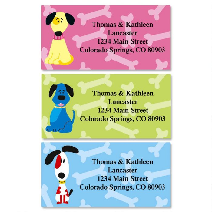 Colorful Dogs Border Return Address Labels  (3 Designs)