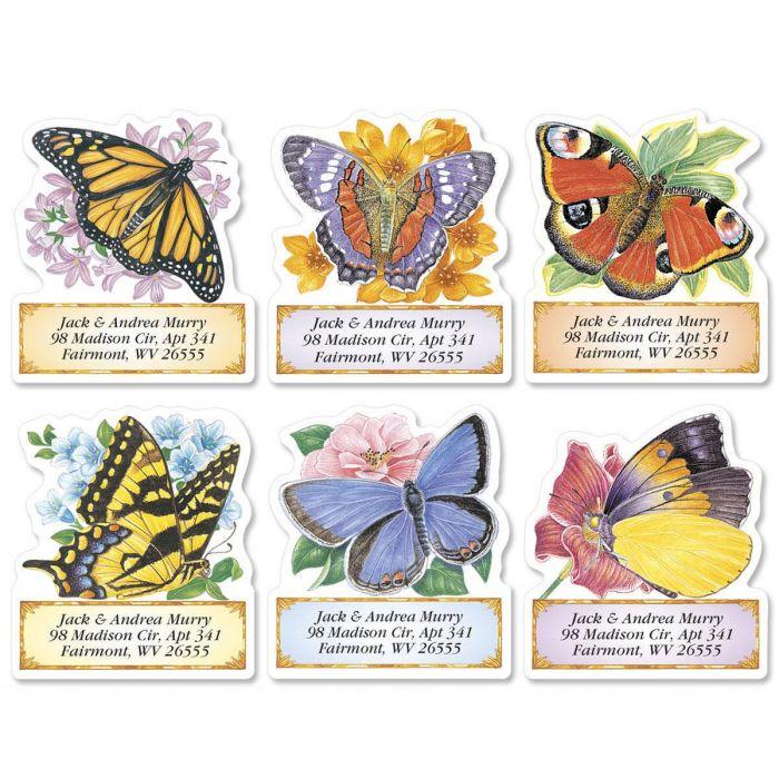 Brilliant Butterflies Diecut Return Address Labels  (6 Designs)