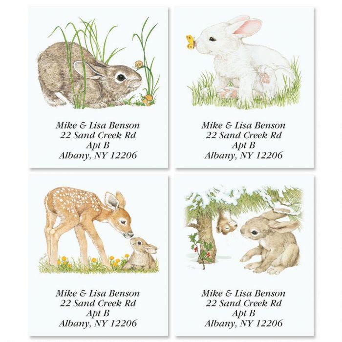 Bunny Spring by Linda K. Powell Select Return Address Labels  (4 Designs)