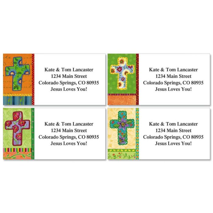 Floral Cross Border Return Address Labels  (4 Designs)