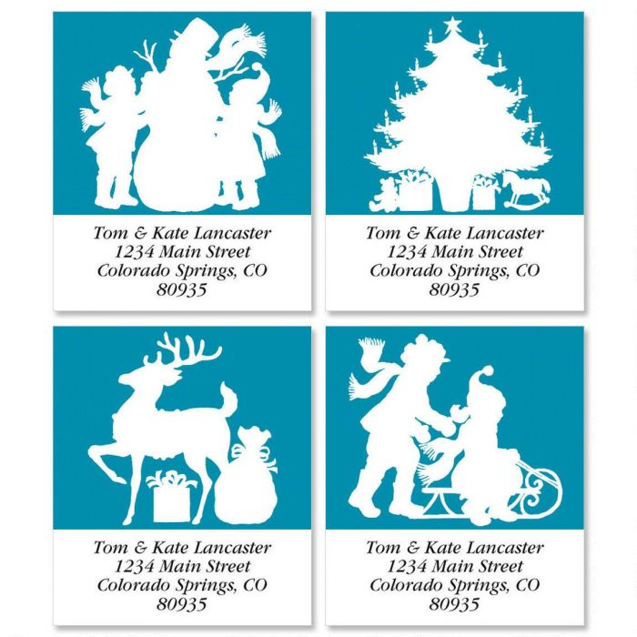 Christmas Stencil Select Return Address Labels  (4 Designs)