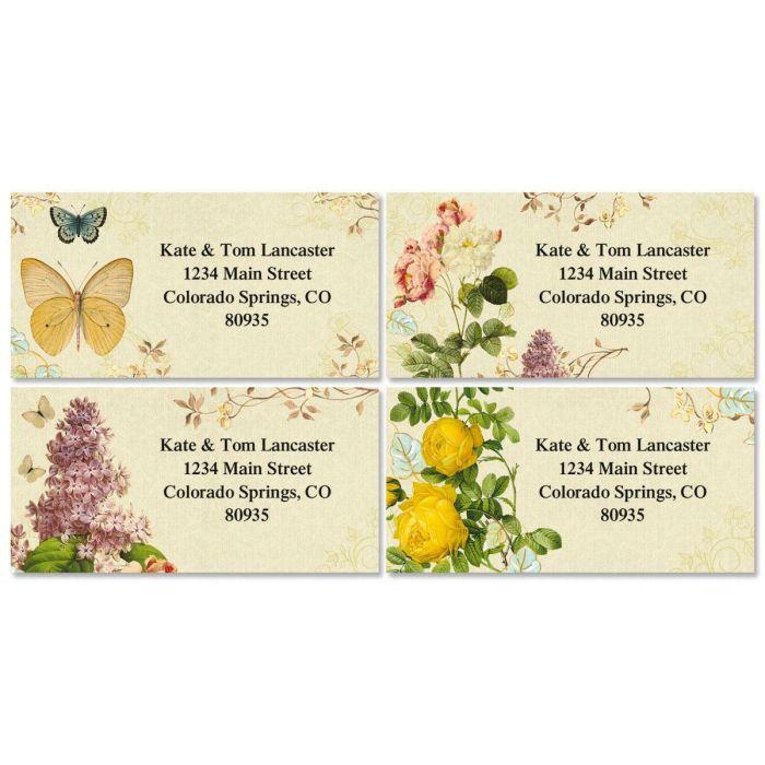 Nature's Flora Border Return Address Labels  (4 Designs)